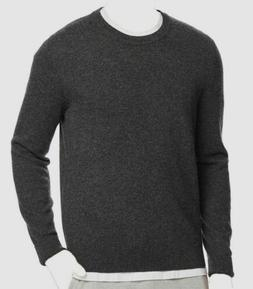 $298 Bloomingdale's Mens Gray Cashmere Crew-Neck Pullover Sw