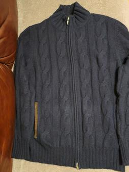 Doriani 4 Ply 100% Cashmere Thick Full Zip Cable Knit Cardig