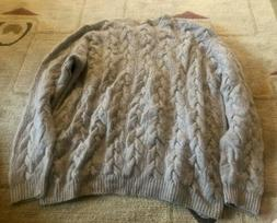 Saks Fifth Avenue 4 Ply Handknit Natural Thick Cashmere Cabl