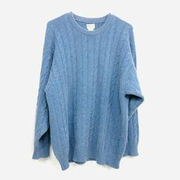 Elgin Cashmere Sweater Men's Cable Knit Pullover Blue Size M
