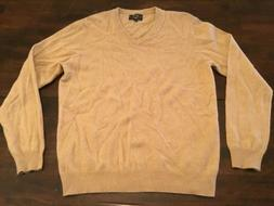 CLUB ROOM CASHMERE V-NECK SWEATER  TAN PREOWNED
