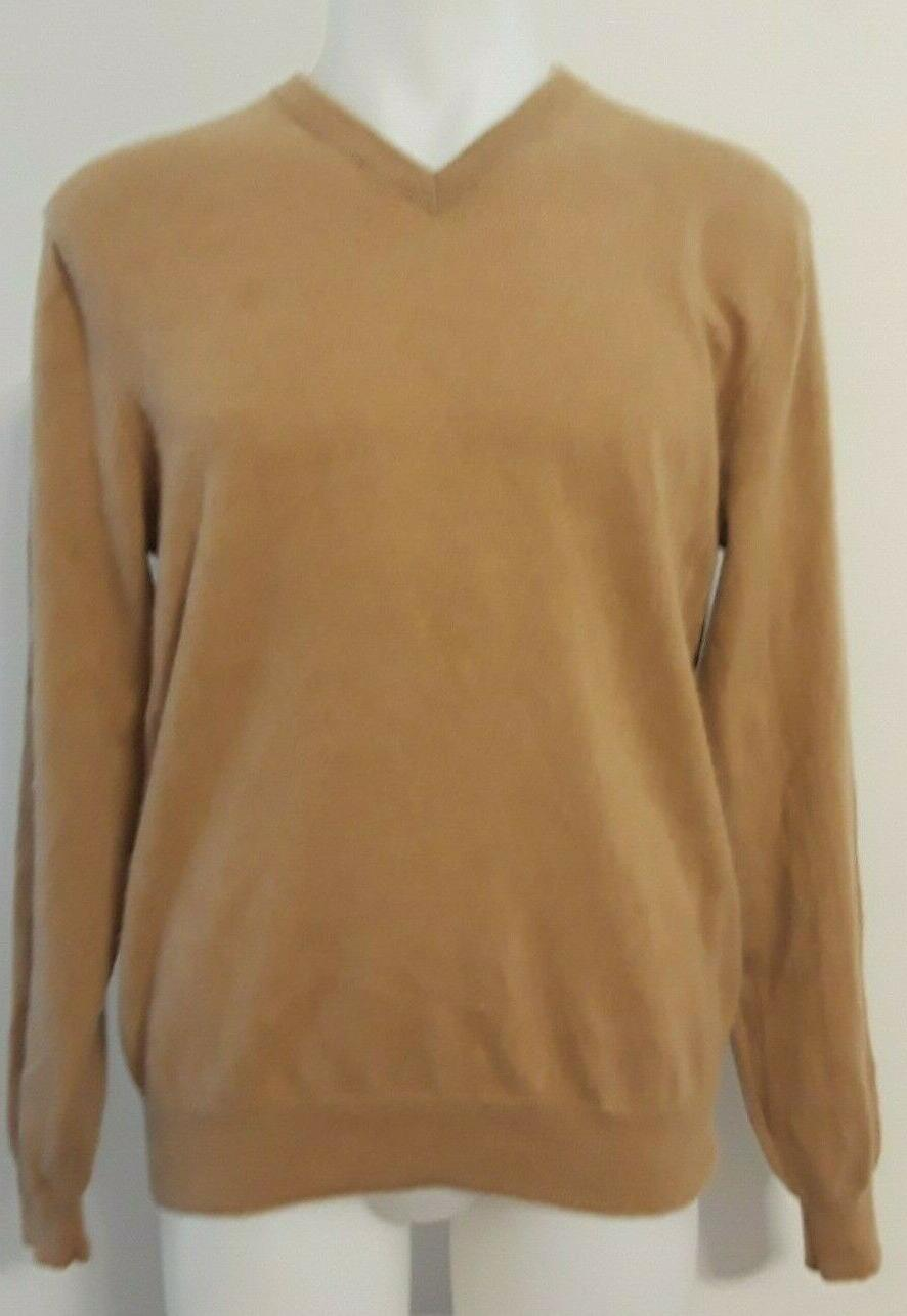 brown cashmere long sleeve v neck sweater