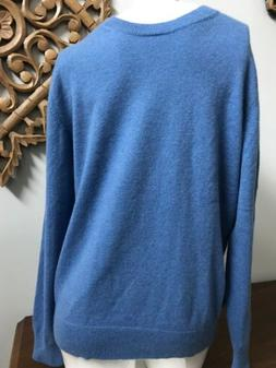 Lands End Blue Pure Cashmere Pullover Sweater Mens XS