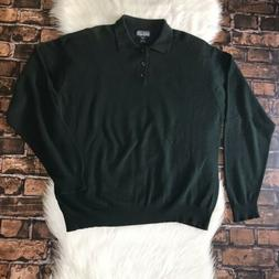 Lands' End VTG 2 Ply Cashmere Green Long Sleeve Polo Sweat