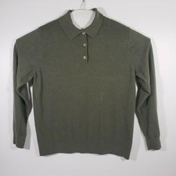 LL Bean Mens Polo Sweater Large Cotton Cashmere Blend Green