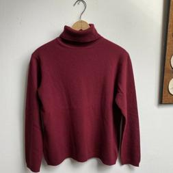 Lord & Taylor 2 Ply 100% Cashmere Turtleneck Sweater Burgund