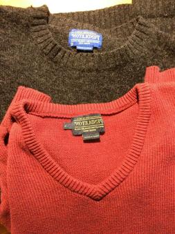 Lot of Pendleton Sweaters Wool & Cashmere L Red Charcoal Gre