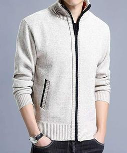 Men's Casual Cashmere Ribbed Pullover Sweater Full Zip Front