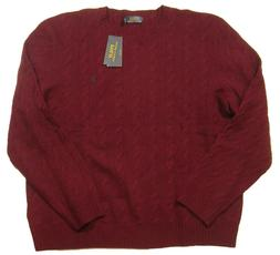 Polo Ralph Lauren Men's Red Burgundy Cable Knit Wool Cashmer
