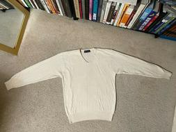SULKA Men's CASHMERE Sweater Made In Italy sz SMALL white