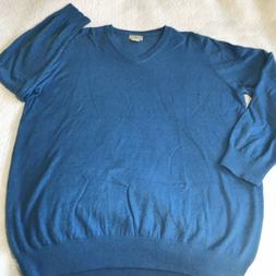 Mens Cashmere Sweater Size XL Tall Blue Cotton V Neck LL Bea