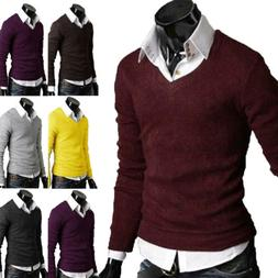 Men's Casual Slim Fit V Neck Pullover Sweaters Coat Knit Wea