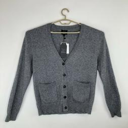 Qi Cashmere Mens Gray Cashmere V Neck Cardigan Sweater Size