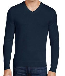 Club Room Mens Sweater Size Large $75 Navy Wool Blend V-Neck