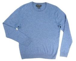 NEW $198 BLOOMINGDALE'S BLUE 2 PLY 100% CASHMERE CREW NECK S