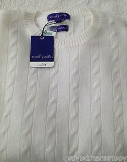 NWT Alan Flusser $278 Ivory Pure 2 Ply Cashmere Cable Knit S