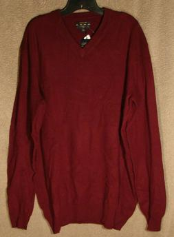 NWT Burgundy V-Neck Cashmere Sweater from Club Room, Size La