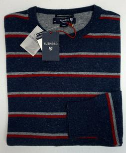 NWT Cremieux Cotton Cashmere Gray Red Blue Striped Sweater M