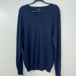 NWT J. Crew Tall Cotton-Cashmere V-neck Sweater, Navy, Size