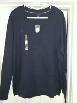 NWT Tommy Hilfiger Navy Blue Cashmere Pullover V-neck Sweate