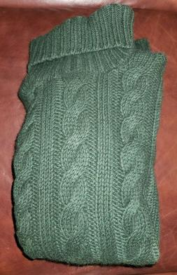 Ralph Lauren Cashmere Wool Chunky Thick Green Cable Knit Tur