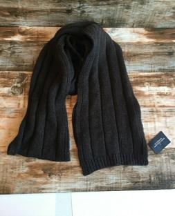 Roundtree & Yorke brown ribbed sweater scarf soft NWT