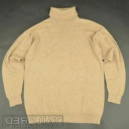 TSE Solid Brown 100% Cashmere Woven Turtleneck Sweater Mens