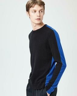 Theory Spring Cashmere Sweater Evers Black Blue Crew Sporty